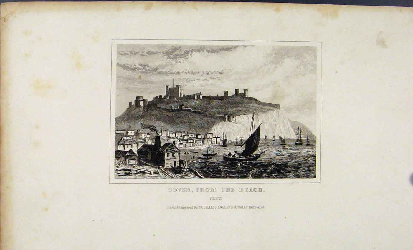Print Dover Fron The Beach Kent C1845 Dugdale 787541 Old Original