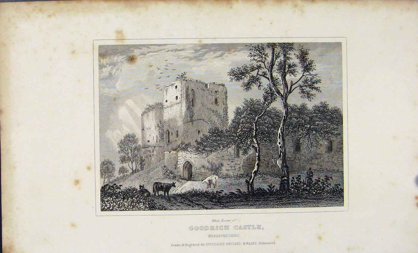 Print Dugdale C1845 Goodrich Castle Herefordshire England 807541 Old Original