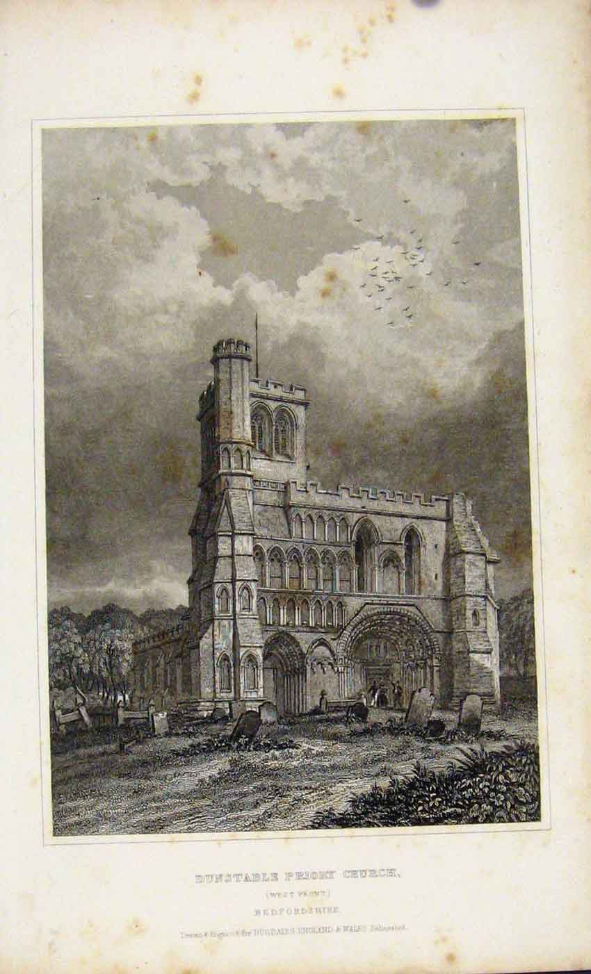 Print C1845 Dugdale Dunstable Priory Church Bedford 827541 Old Original