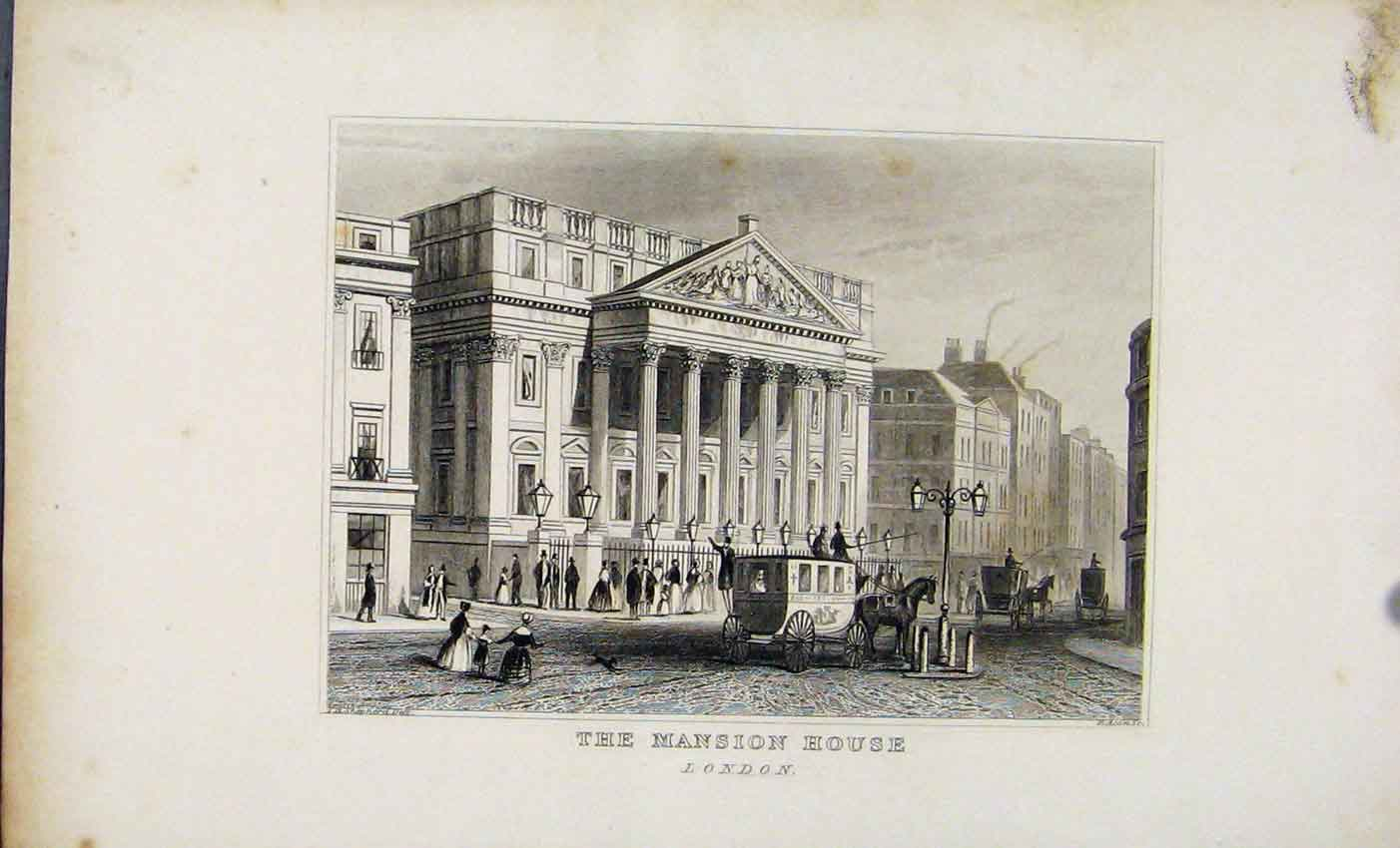 Print C1845 Dugdale The Mansion House London England 887541 Old Original