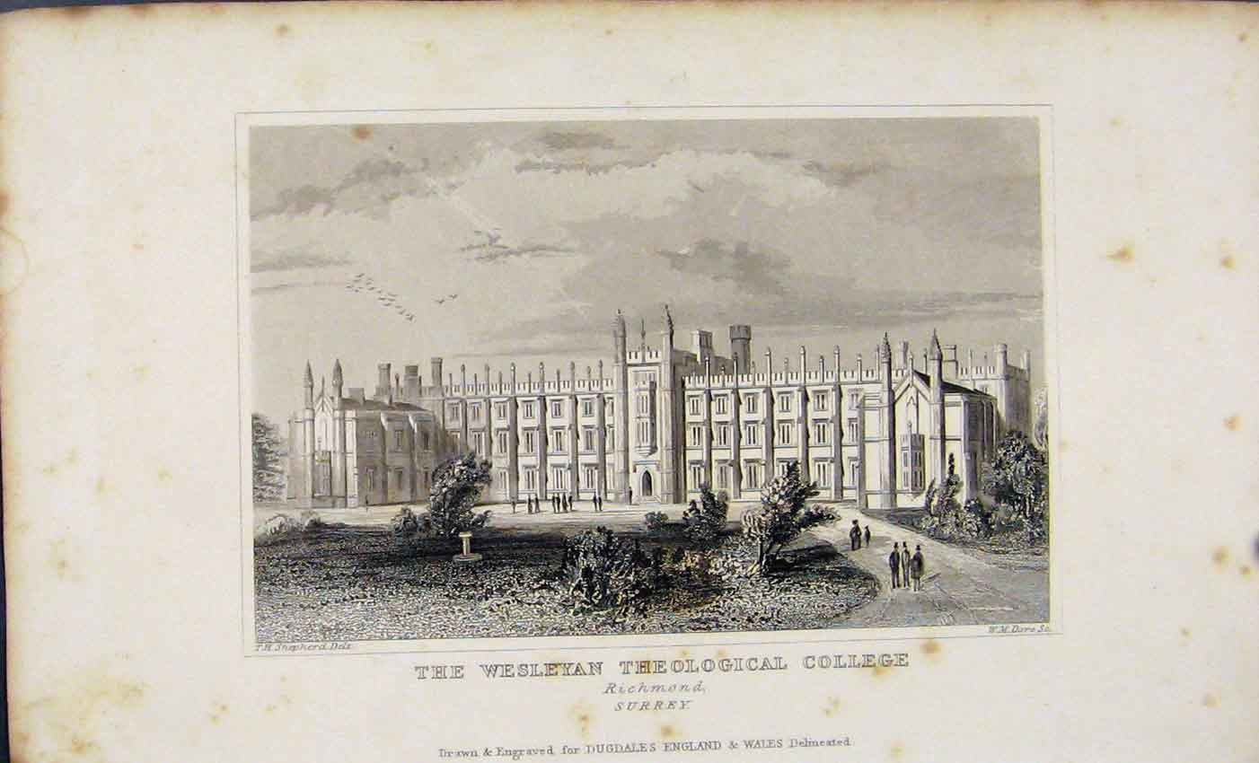 Print Wesleyan Theological College Richmond C1845 Dugdale 917541 Old Original