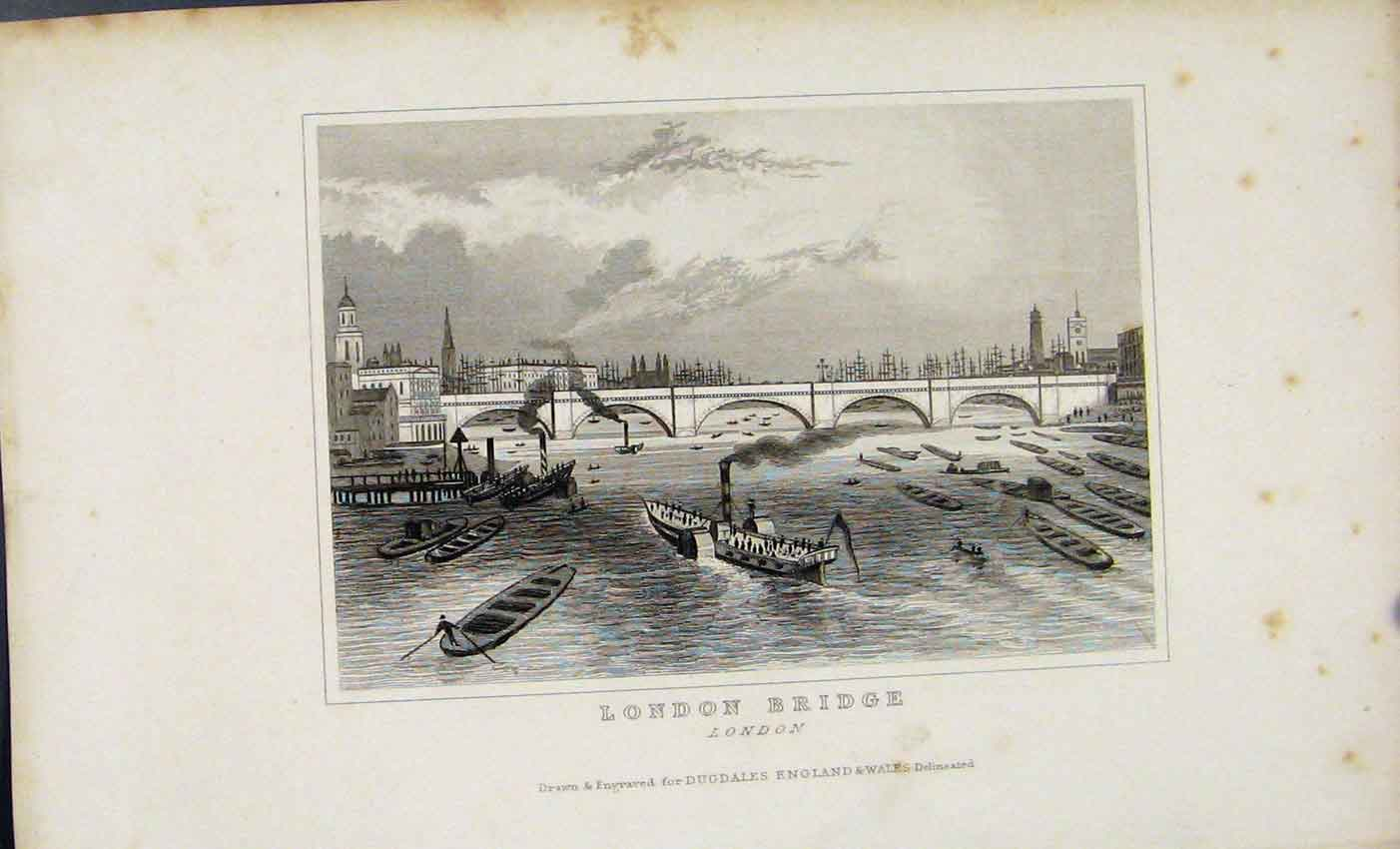 Print C1845 London Bridge England Dugdale Fine Art 96A7541 Old Original
