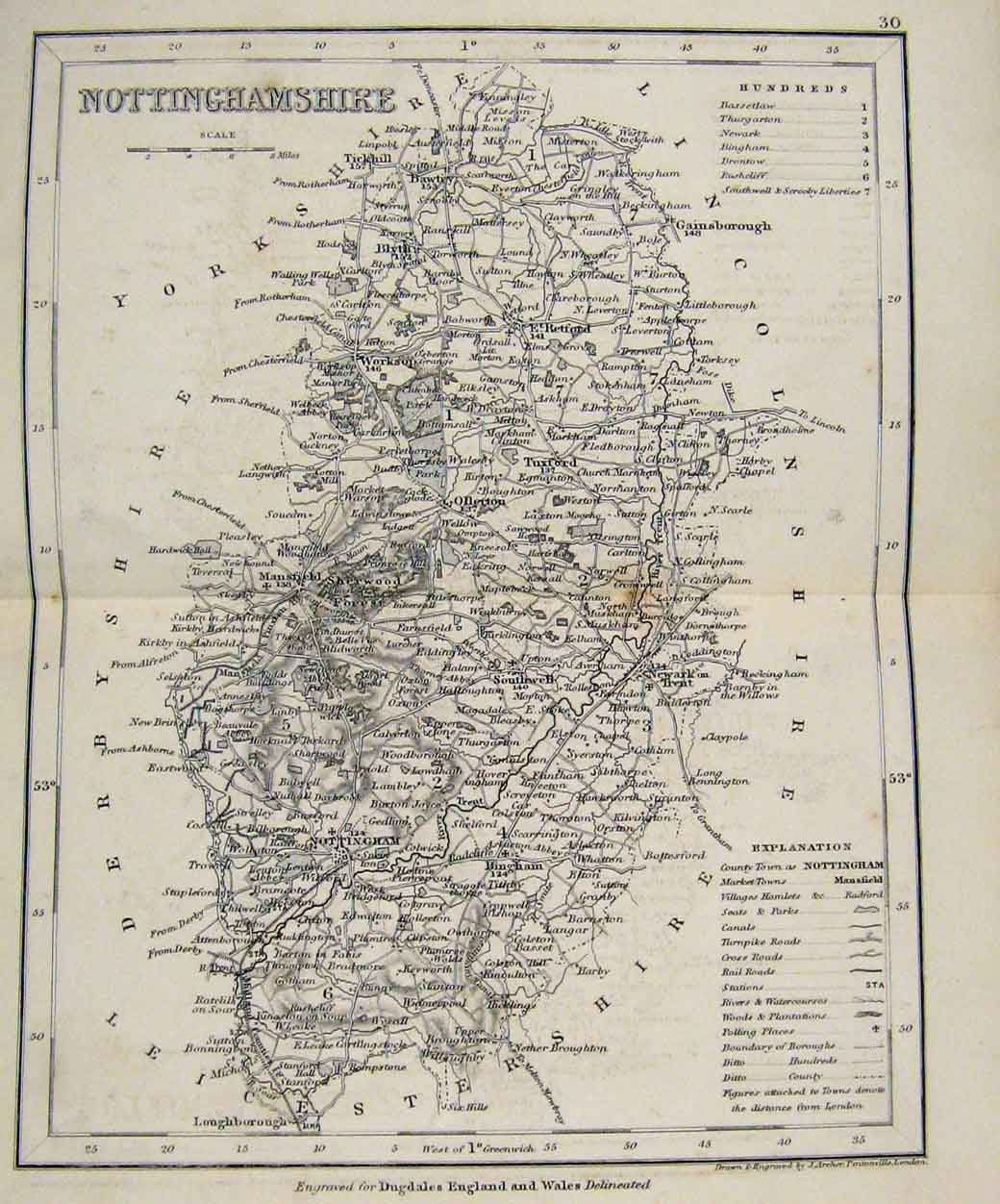 Print Dugdale C1840 Map England Monmouthshire 157551 Old Original