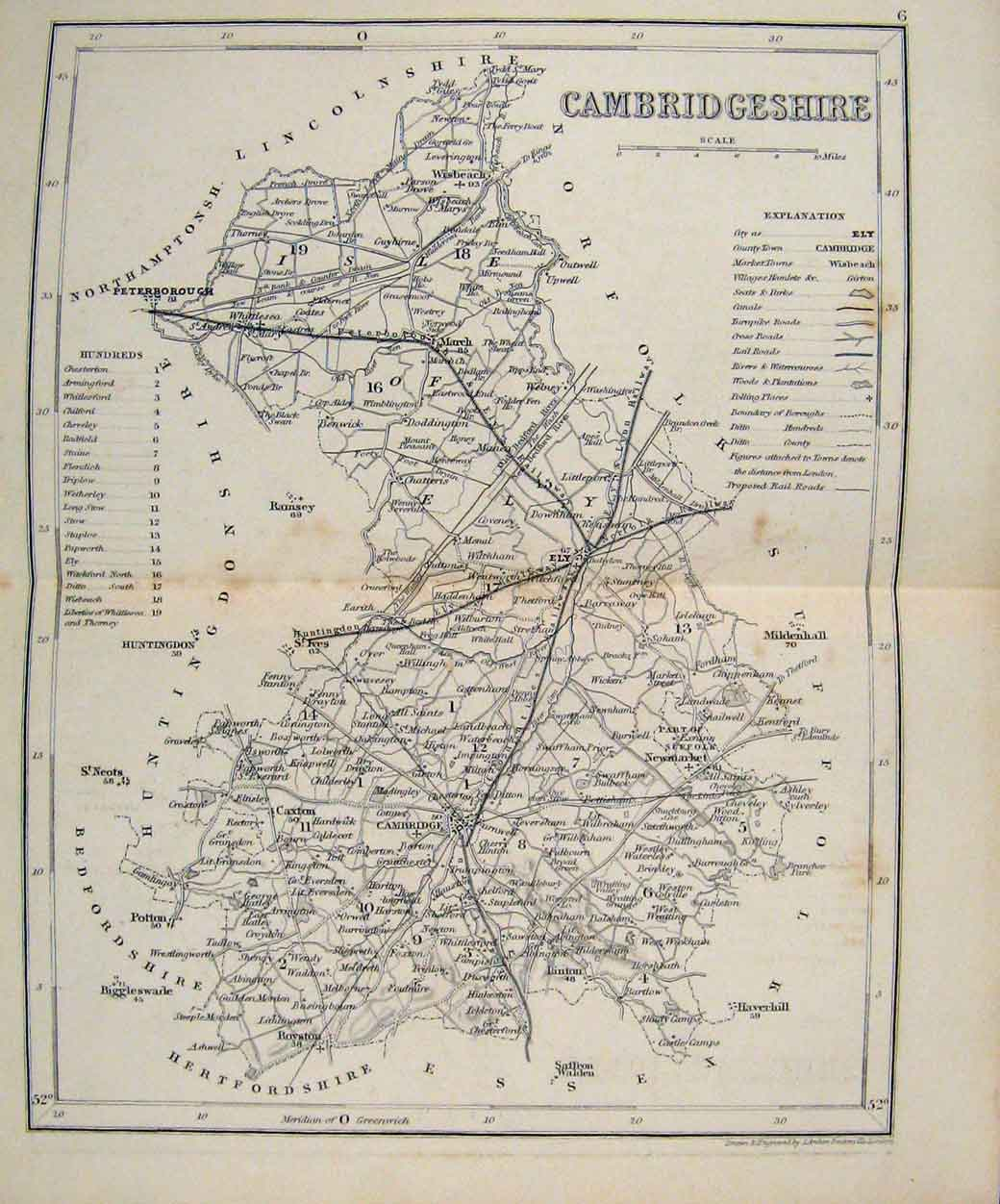 Print Dugdale C1840 Map Cambridgeshire England 537551 Old Original