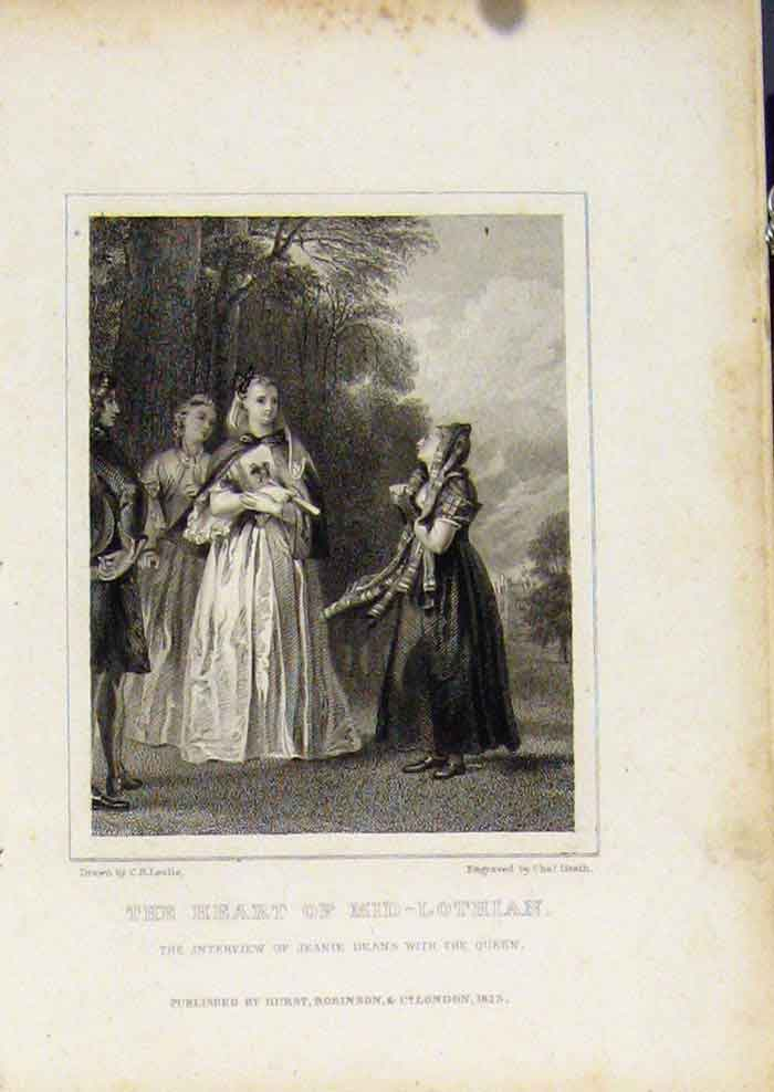 Print From Waverly Novels By Walter Scott Heart Mid Lothian Art 137561 Old Original
