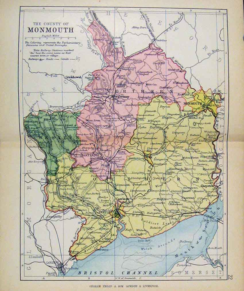 Print Philips Handy Atlas Map England C1890 Monmouth Pritn 267571 Old Original