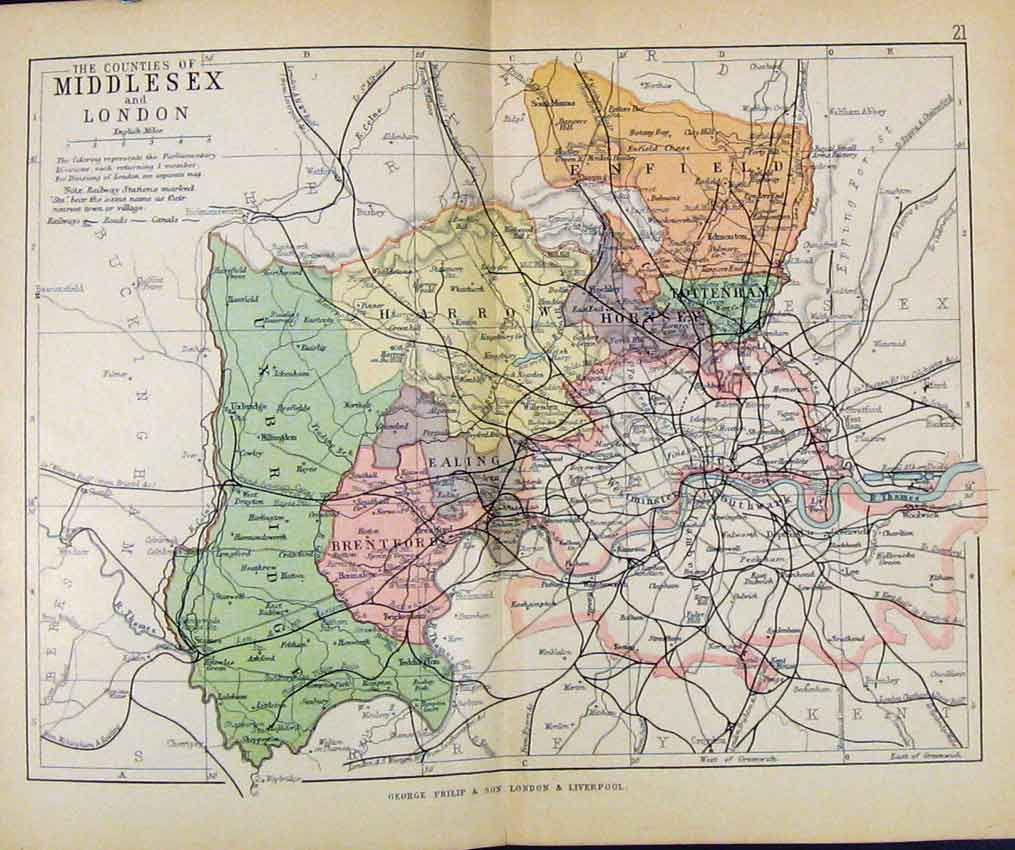 Print Philips Handy Atlas Map England C1890 Middlesex London 277571 Old Original