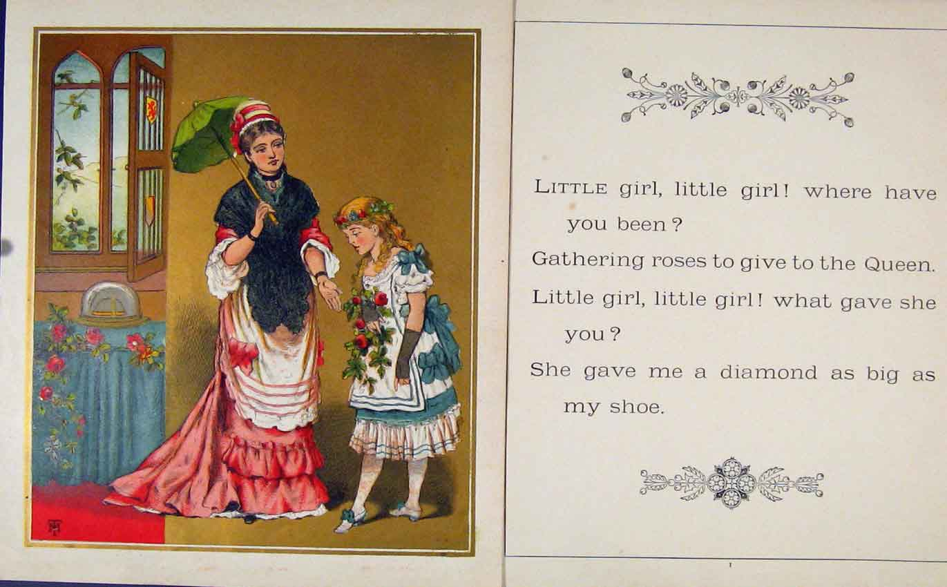 Print Little Girl Where Have You Been Gc1875 Art 137601 Old Original