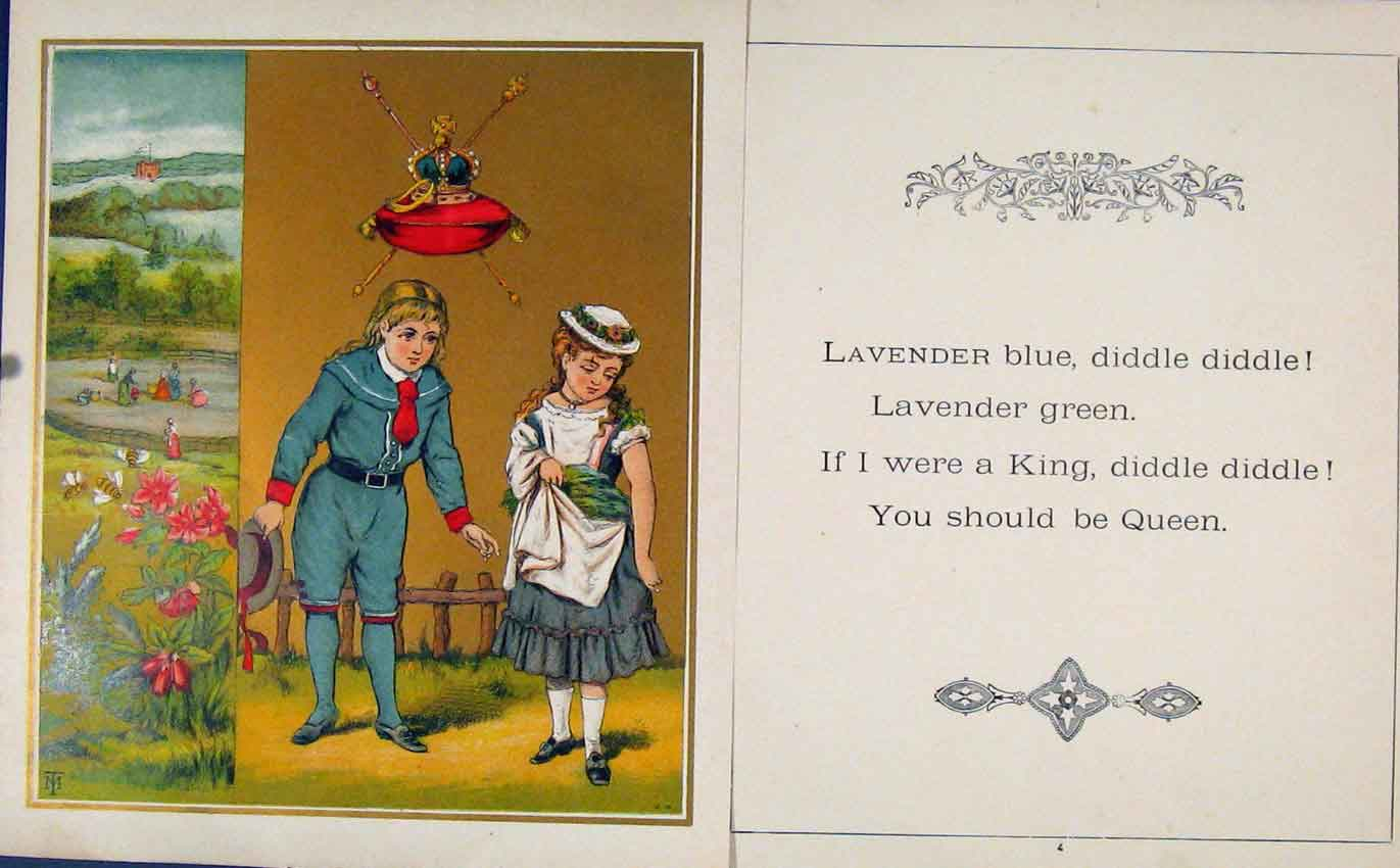Print Gc1875 Lavender Blue Green Louisa Golden Gift 167601 Old Original