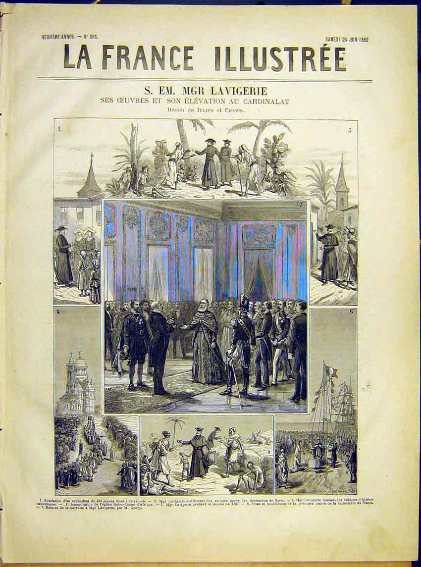 Print Lavigerie Archbishop Religious French 1882 387621 Old Original