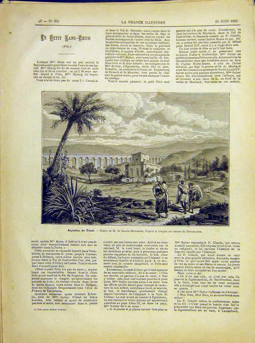 Print Aqueduct Tunis Tunisia Grand-Boulogne French 1882 407621 Old Original