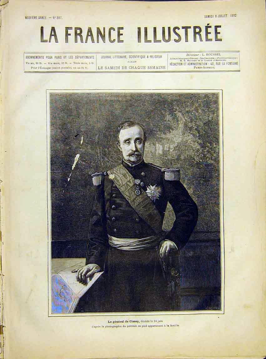 Print Portrait General Cissey Military French 1882 627621 Old Original