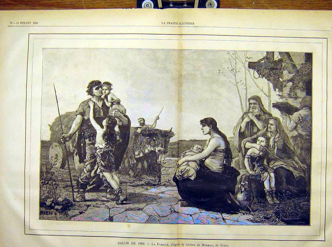 Print Family Painting Fine Art Moreau Tours French 1882 77T7621 Old Original