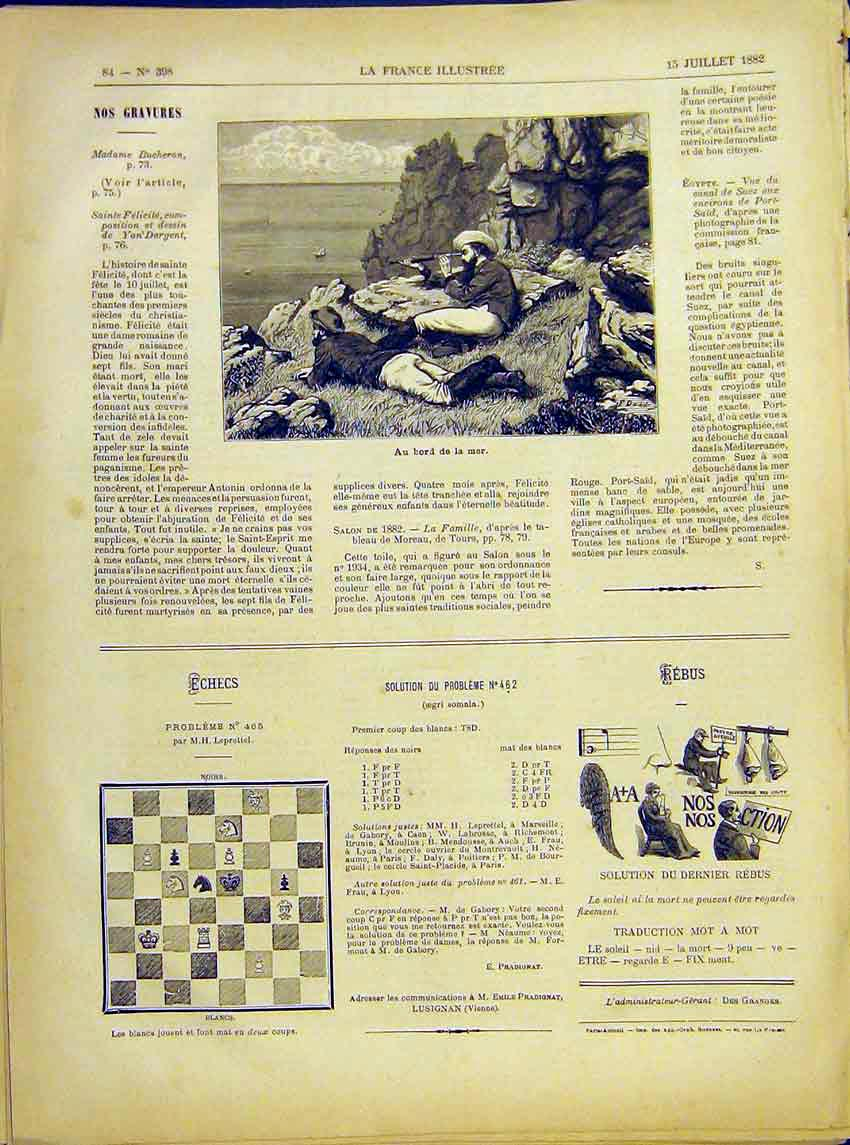 Print Sea Telescope Cliffs Look-Out French 1882 847621 Old Original