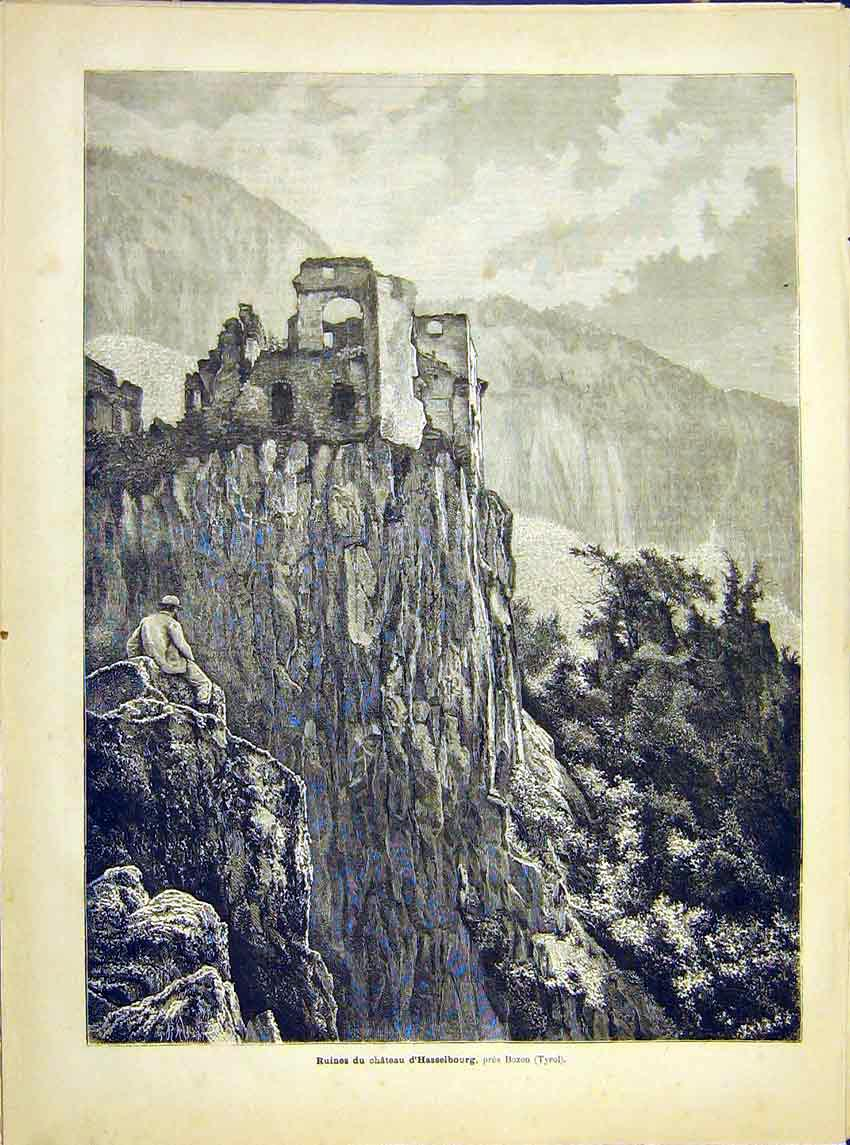 Print Ruins Castle Hasselbourg Bozen Tyrol French 1882 897621 Old Original
