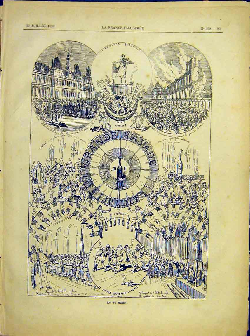 Print Fourteenth July 14Th Celebrations Fete Carnival 1882 937621 Old Original