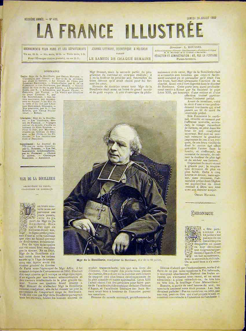 Print Portrait Bishop Bouillerie Bordeaux French 1882 987621 Old Original