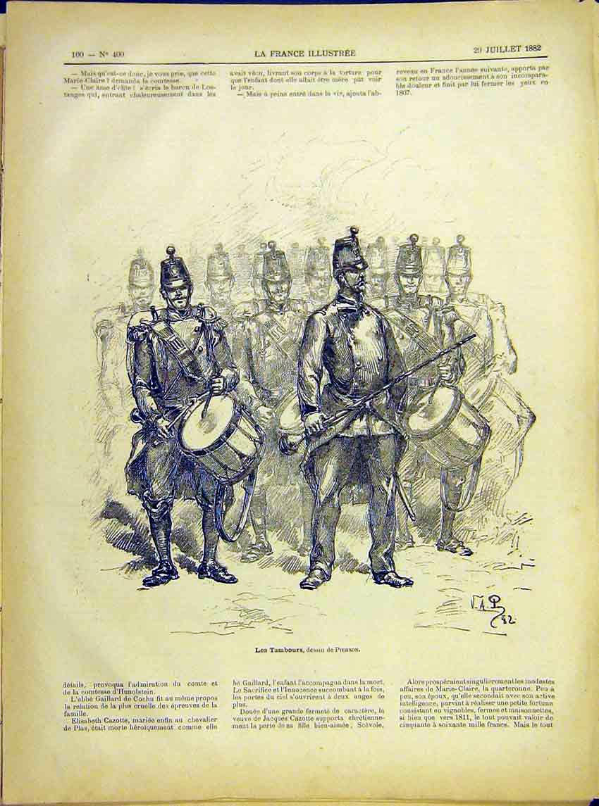 Print Band Tambours Military Army Pierson French 1882 007621 Old Original