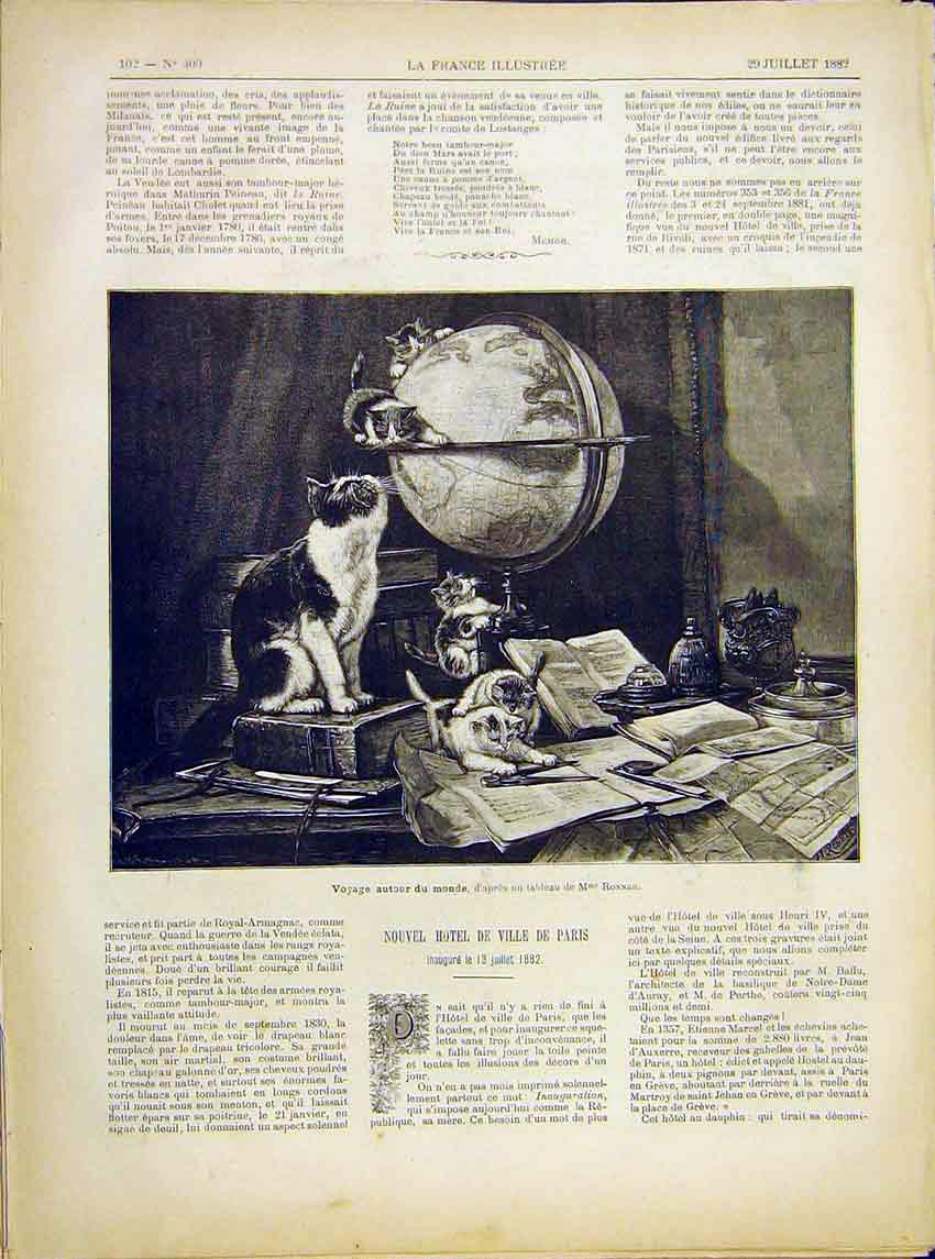Print Cat Kittens Globe World Ronner Fine Art 1882 027621 Old Original