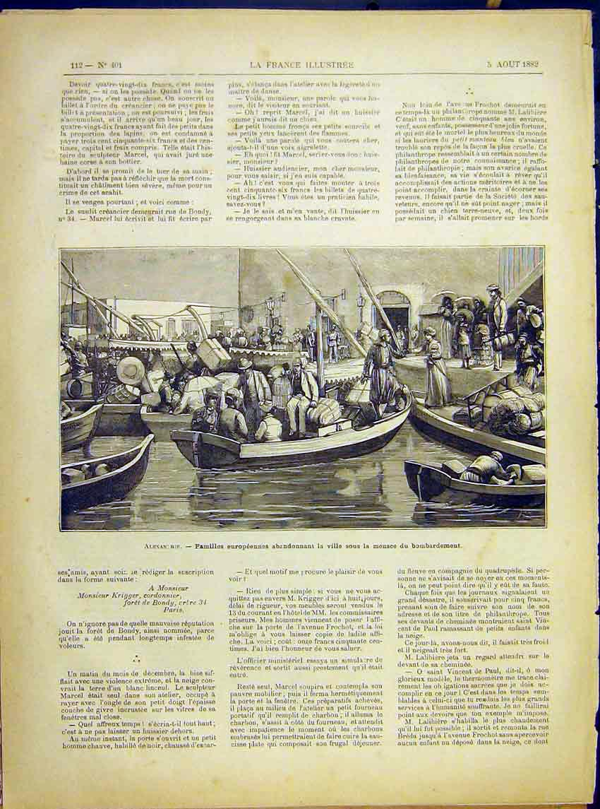 Print Alexan Rie Families Exodus Village Battle 1882 127621 Old Original