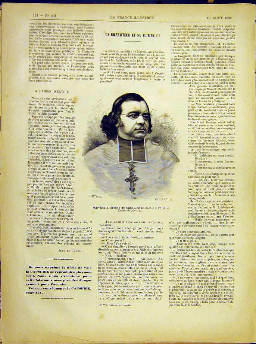 Print Portrait David Saint-Brieuc Religious French 1882 247621 Old Original