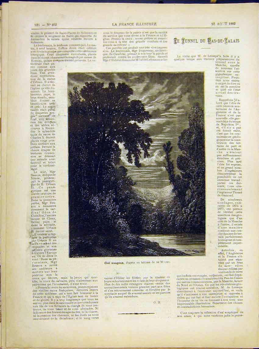 Print Night-Sky Molier Fine Art French 1882 267621 Old Original