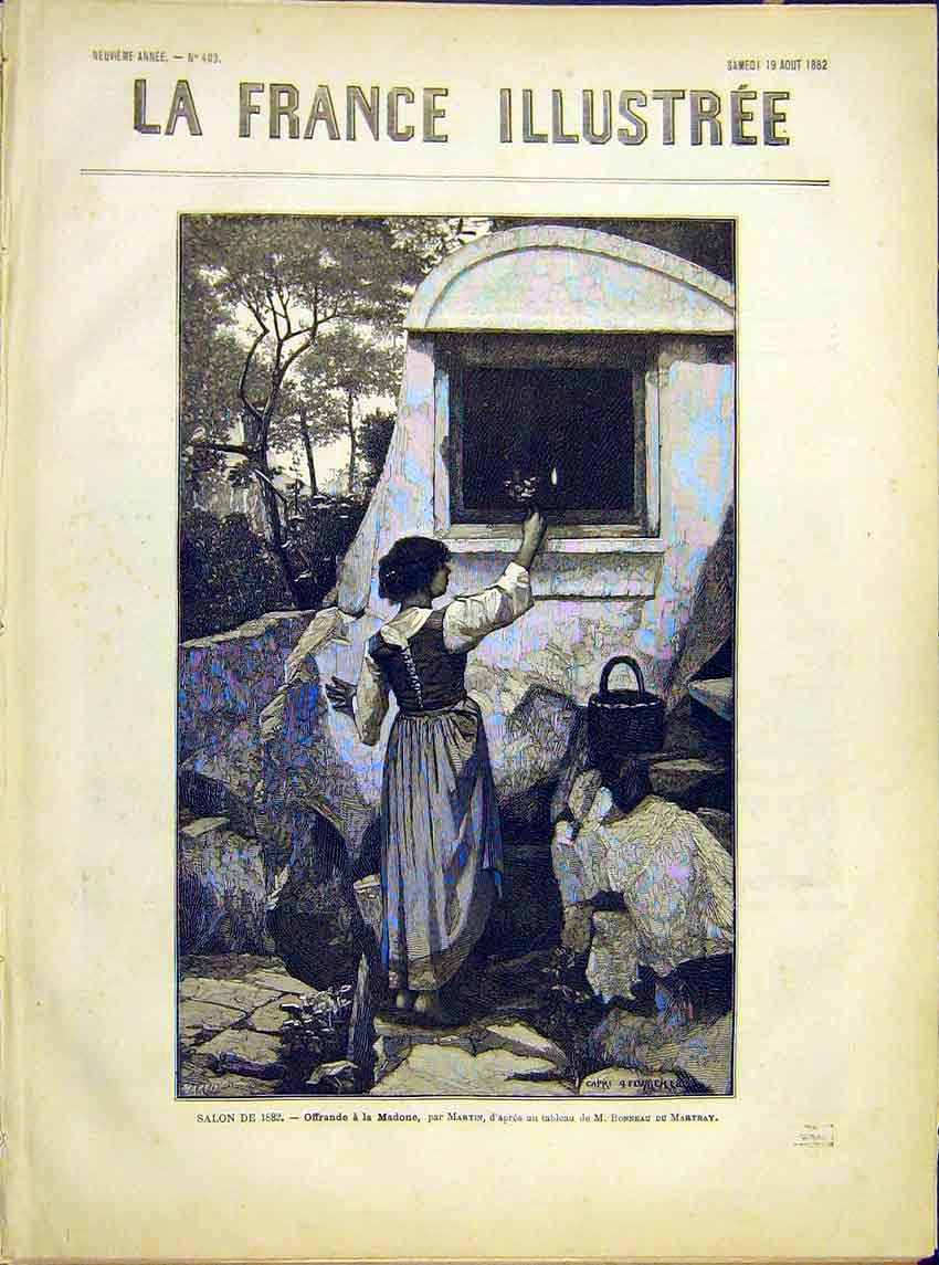 Print Offering Madonna Lady Grotto Martin Religious 1882 347621 Old Original