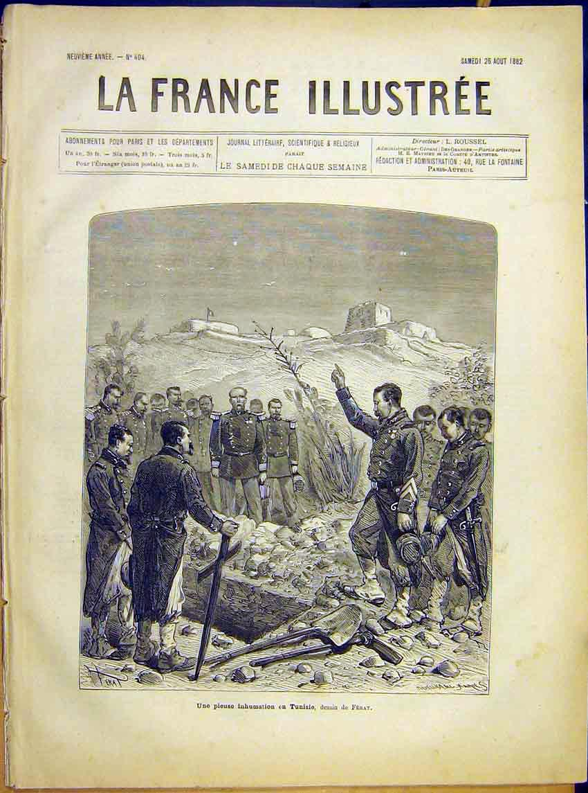 Print Tunisia Ferat Military Funeral Burial French 1882 467621 Old Original