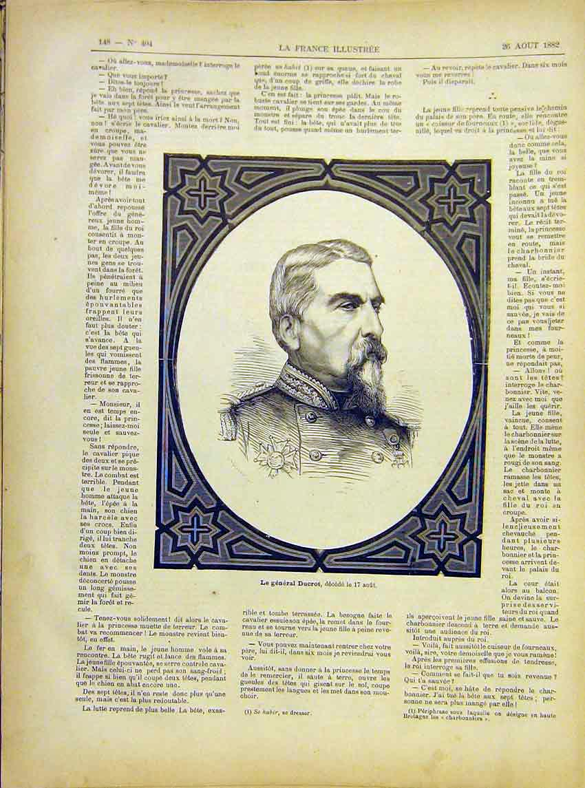 Print Portrait General Ducrot French 1882 487621 Old Original
