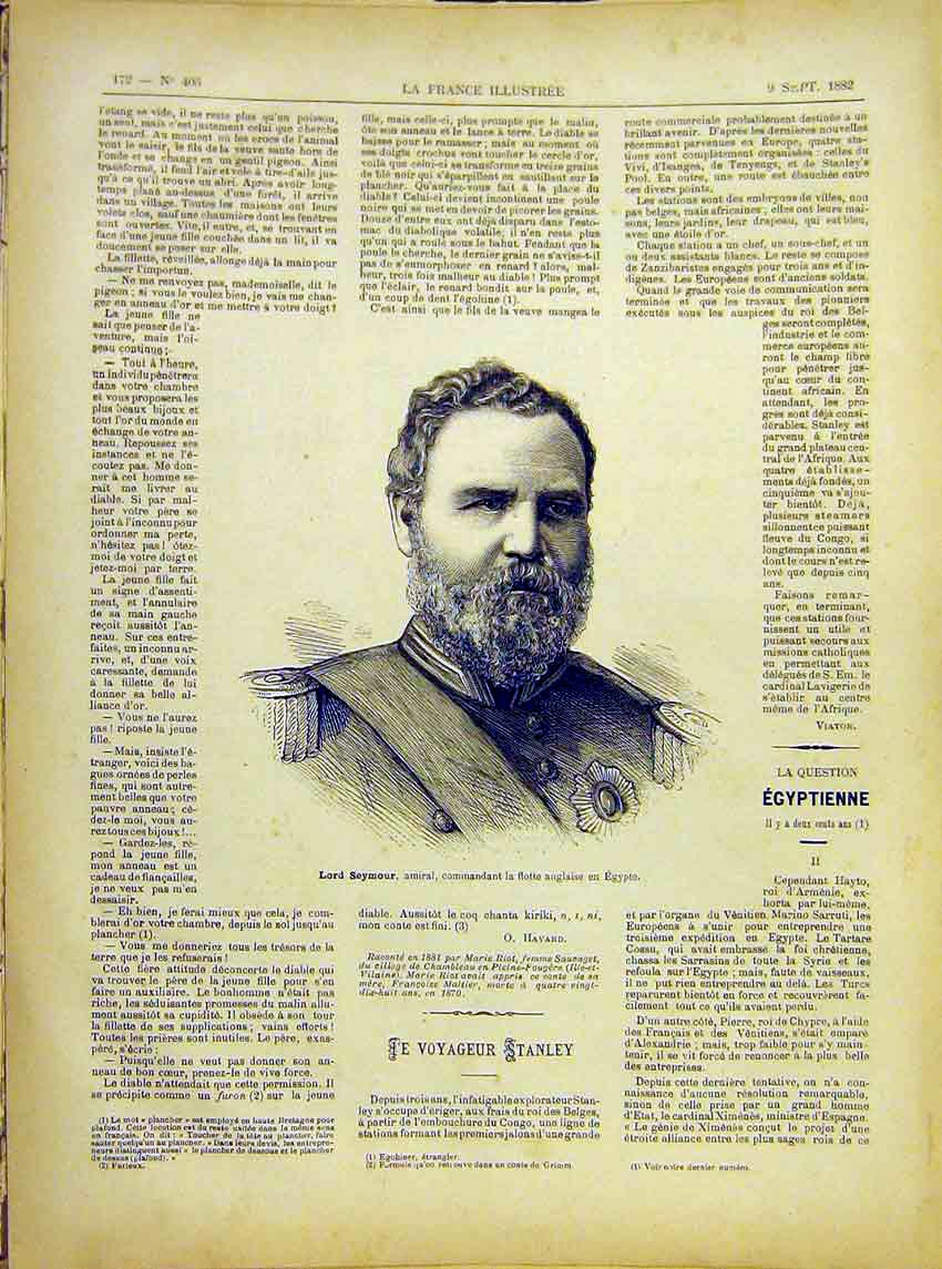 Print Portrait Lord Seymour Admiral Egypt French 1882 727621 Old Original