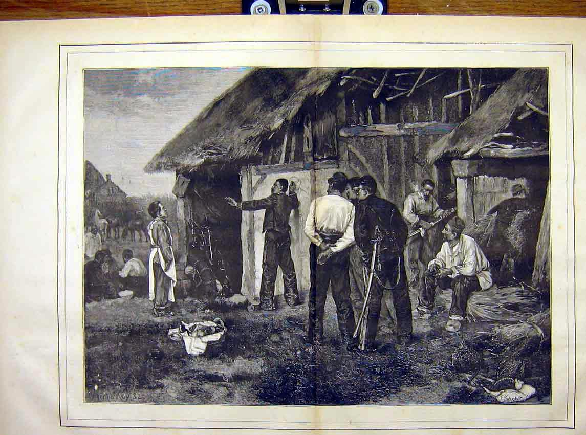 Print No-Entry Military Manoeuvres Roy French 1882 73T7621 Old Original