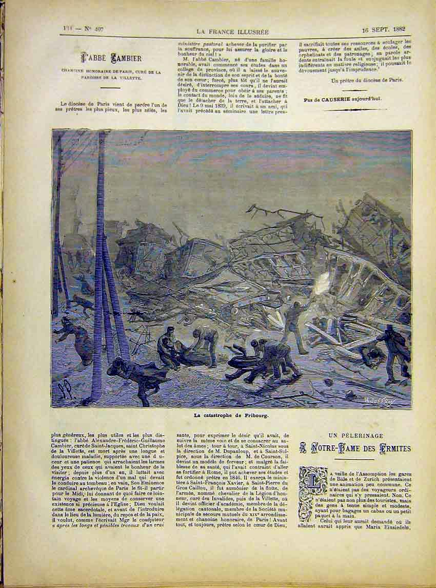Print Fribourg Catastrophe Railway Accident French 1882 847621 Old Original