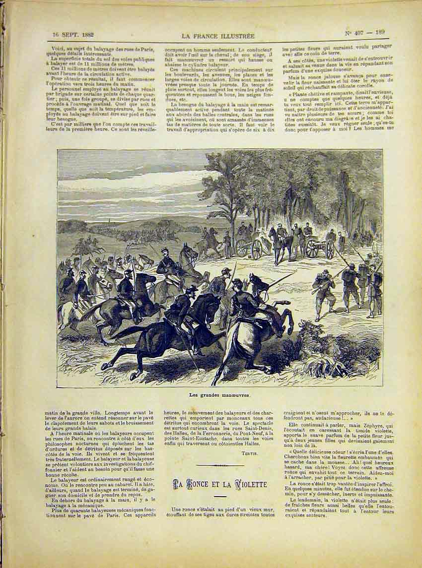 Print Military Manoeuvres French 1882 897621 Old Original