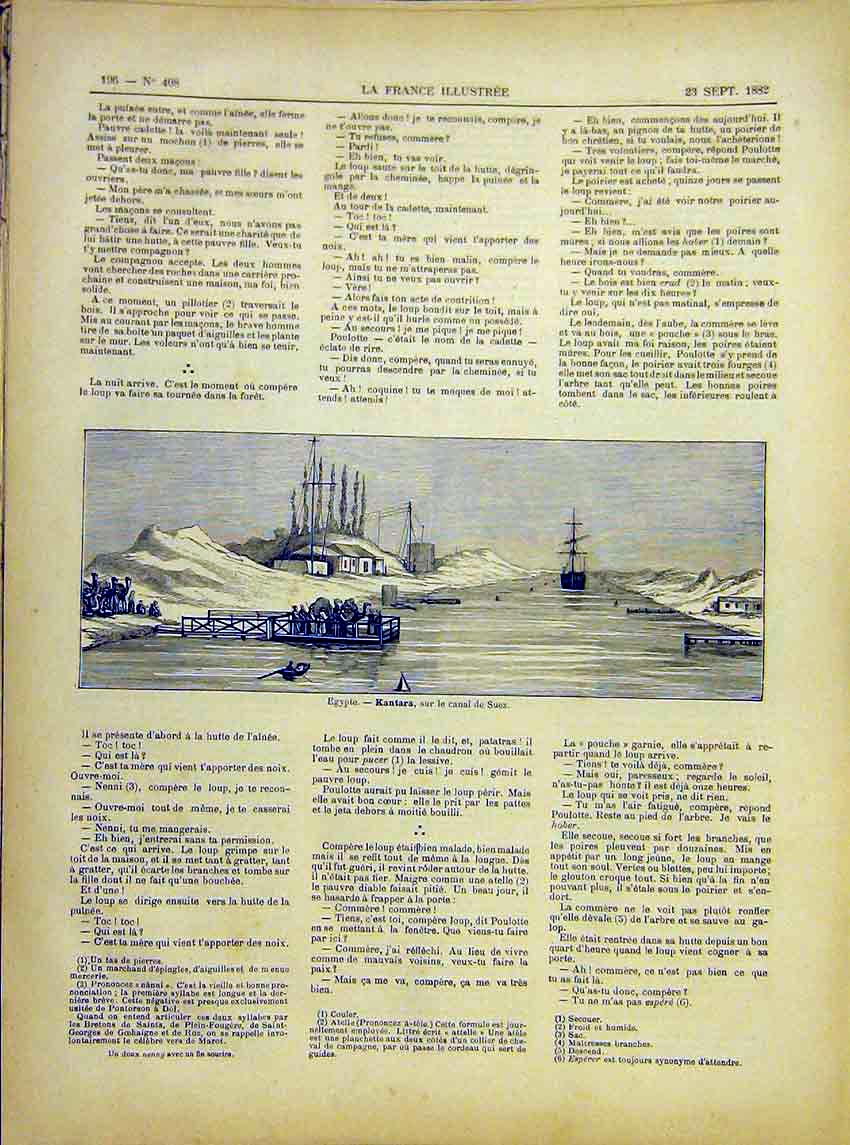 [Print Agypt Kantara Suez Canal French 1882 967621 Old Original]