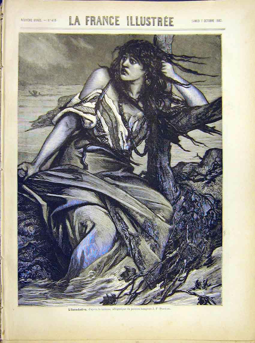 Print Floods Portael Lady River Fine Art French 1882 187621 Old Original