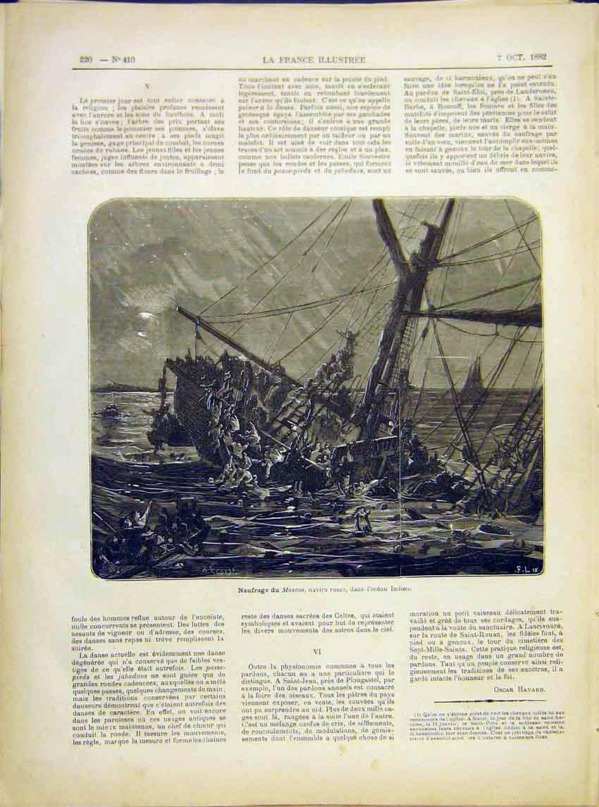 Print Moscou Ship-Wreck Indian Ocean French 1882 207621 Old Original