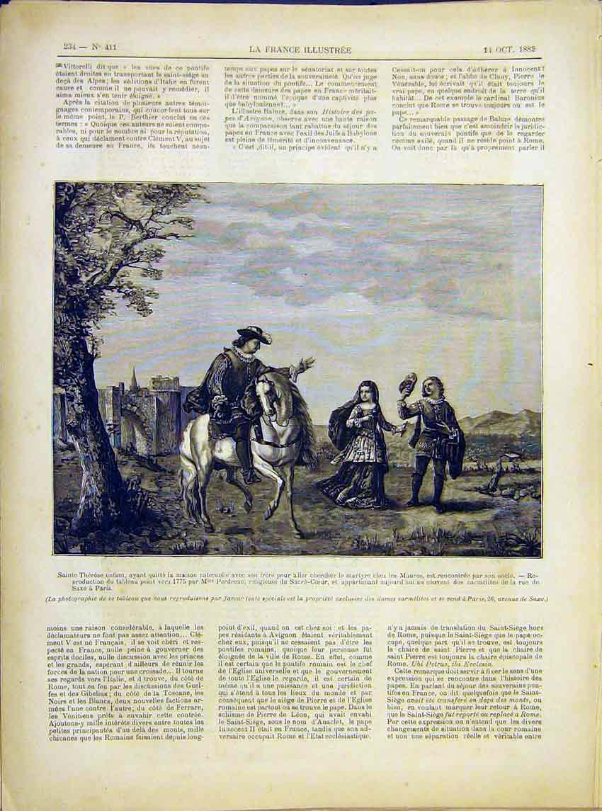 Print Saint Therese Child Maures Padreau French 1882 347621 Old Original