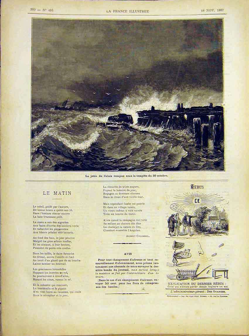 Print Jetty Calais France Storm Sea French 1882 007621 Old Original