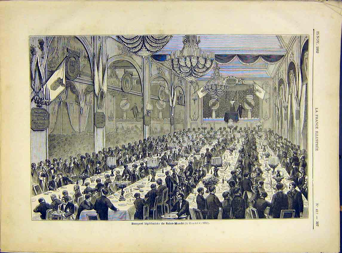 Print Banquet Saint-Mande French 1882 077621 Old Original