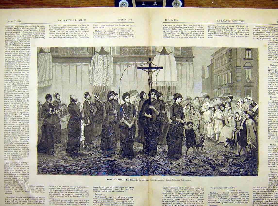 Print Ladies Paroissse Mathieu Religious French 1882 94T7621 Old Original
