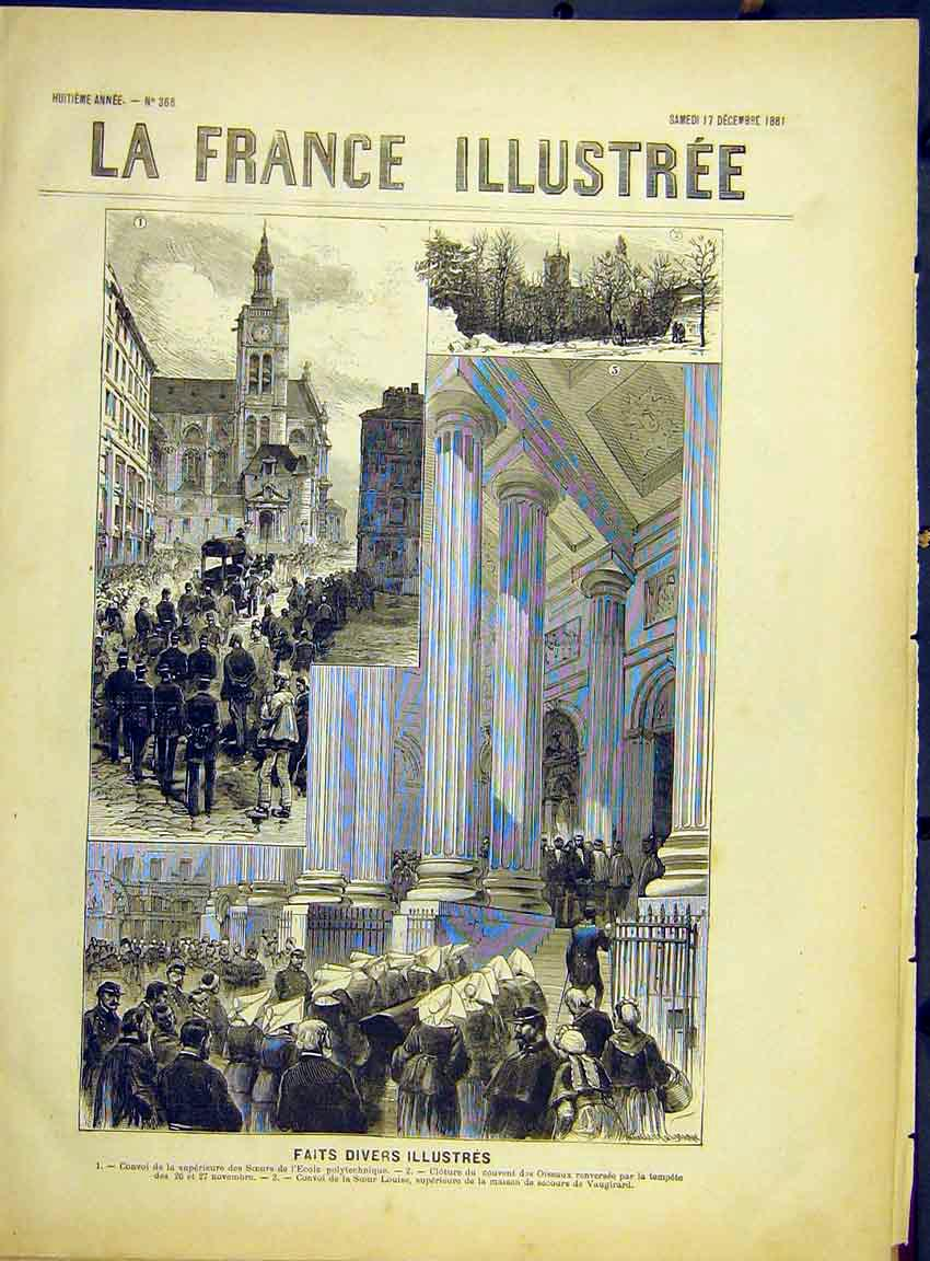 Print Funeral Procession Sister Louise Vaurigard 1882 267630 Old Original