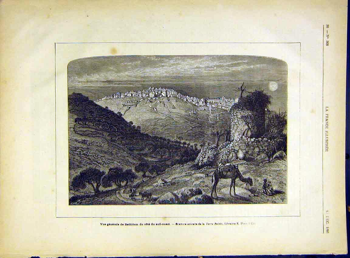 Print Bethlehem View Camel French 1882 City 307630 Old Original