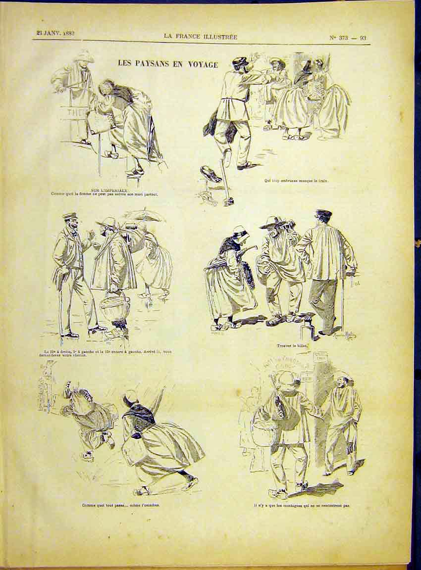 Print Sketches Travellers Paysans Peasants French 1882 937630 Old Original