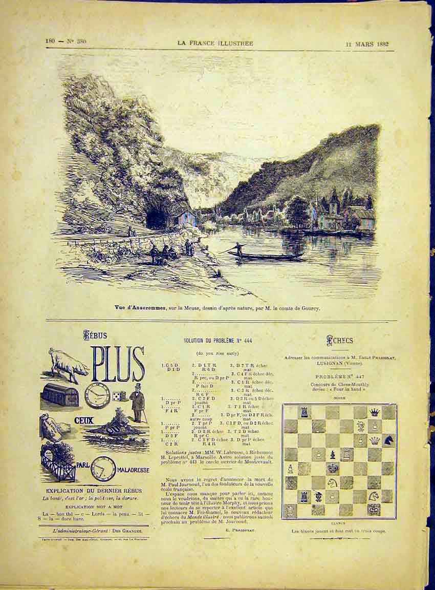 Print Anseremmes Meuse Gourcy River Boat French 1882 807630 Old Original