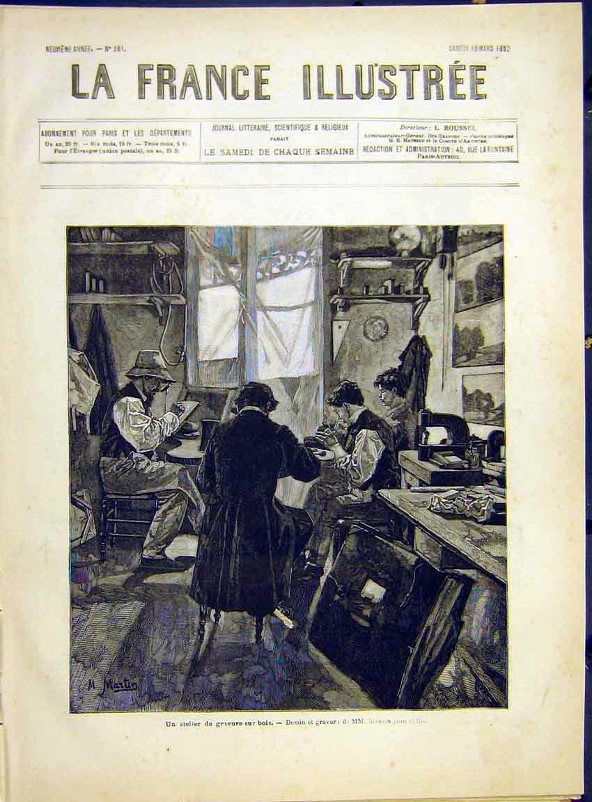 Print Shop-Keepers Martin Family French 1882 827630 Old Original