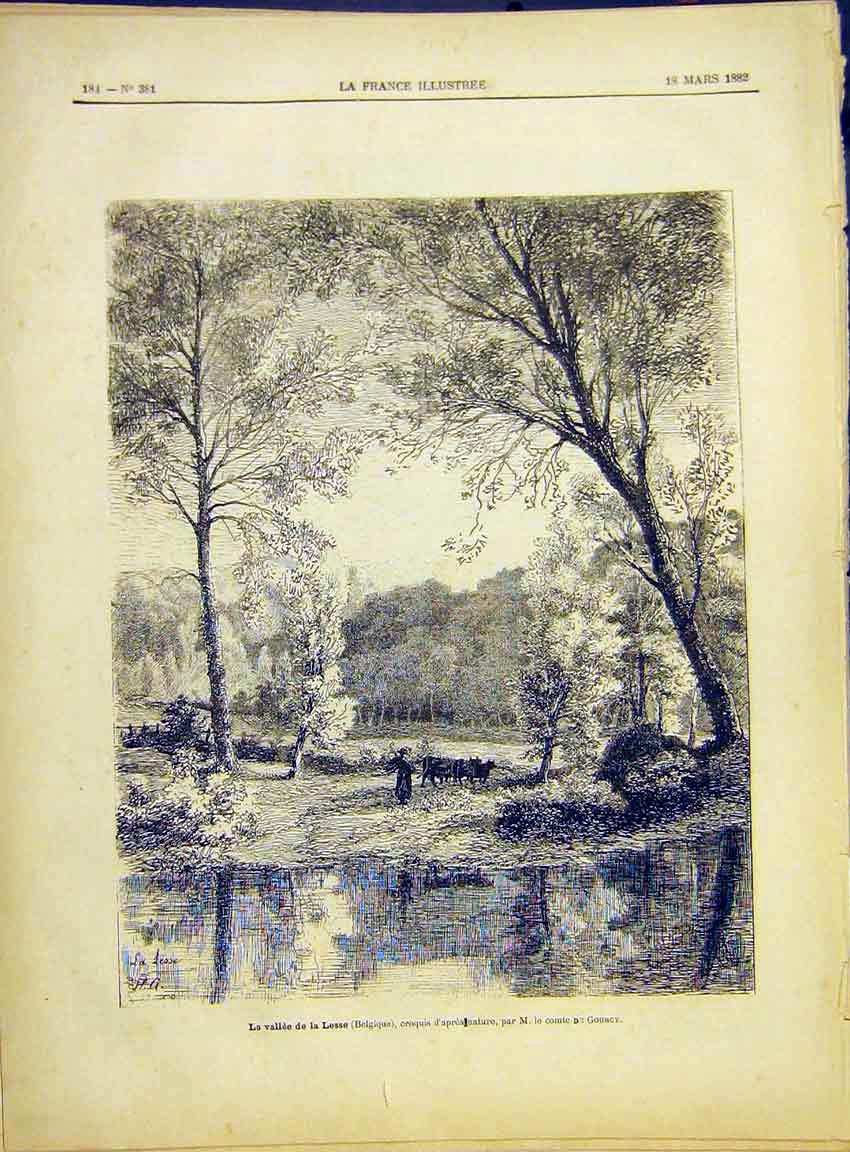 Print Lesse Belgium Gourcy Valley French 1882 847630 Old Original