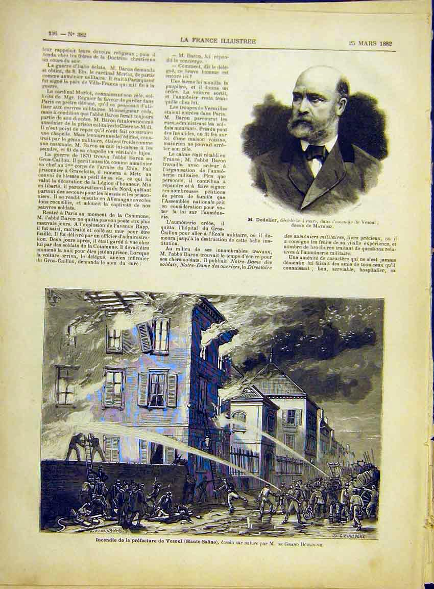 Print Portrait Dodelier Vesoul Fire Prison French 1882 967630 Old Original