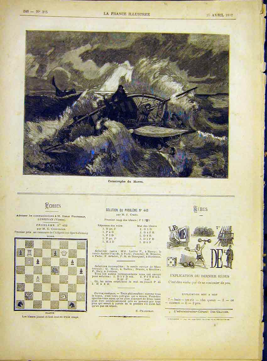 Print Havre Catastrophe Ship Wreck Storm French 1882 407630 Old Original