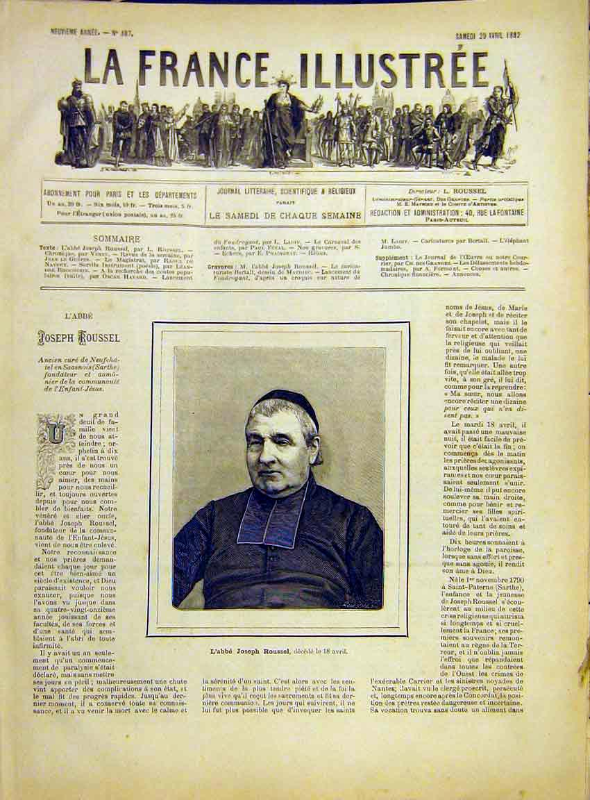 Print Portrait Abbot Rousel Religious French 1882 547630 Old Original