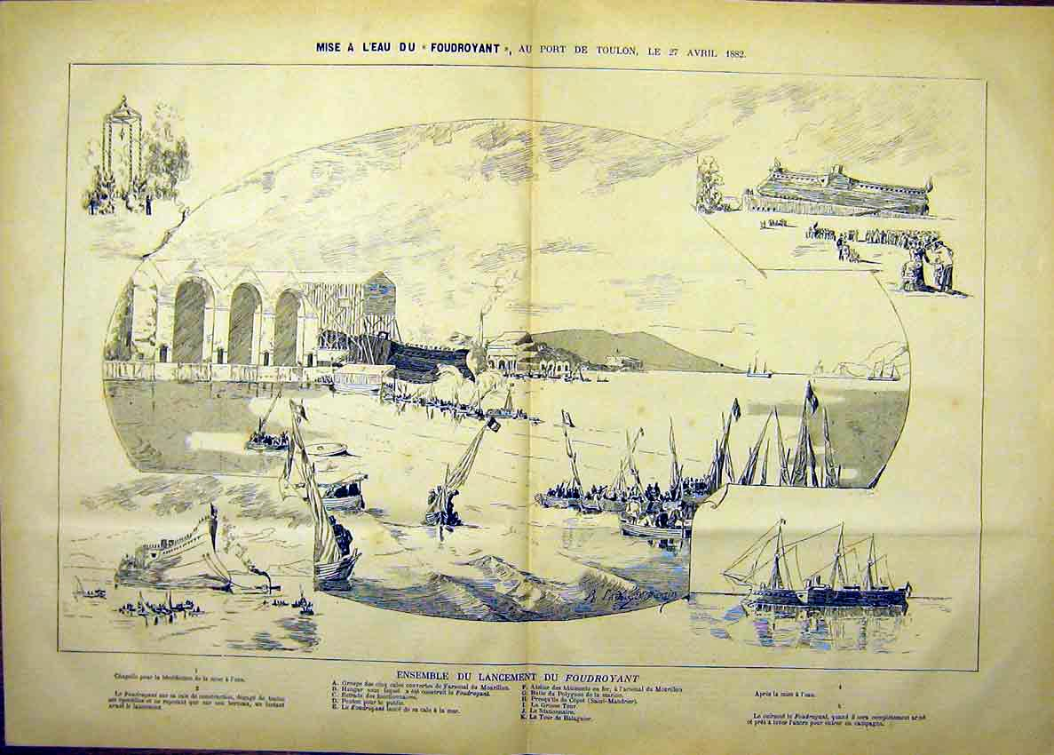 Print Toulon France Port Aircraft Ship Boat French 1882 57T7630 Old Original